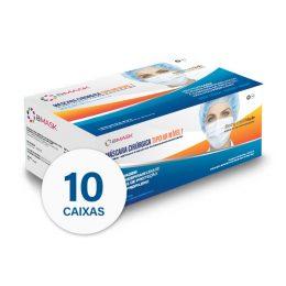 Pack 10 Cx Máscara Cirúrgica Descartável Tipo IIR Nível 1